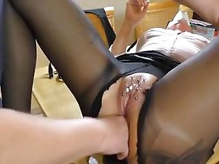 Amateur -  Pierced Mature - Pissed On & Squirting Anal Fist