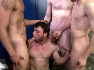 Cock Virgins Locker Room Group Sucking