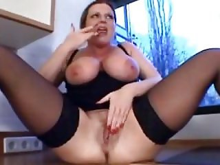 German MILF Big Saggy Tits Fucked Kitchen Stockings