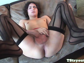 Auditioning tranny tugging her hard cock