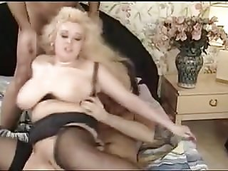 Vintage British Huge Saggy Tits DP Black Stockings