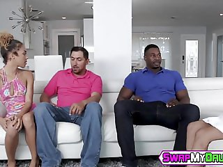 Young ebony babes stretched by gigantic black dicks