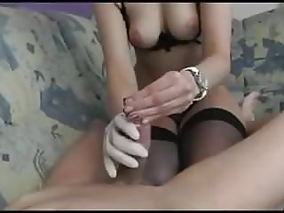 hot girl handjob cum in condom