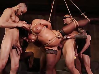 Raven Hart Bound, Fucked and Wrecked in Relentless Gangbang
