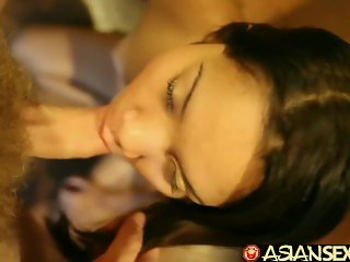 Asian Sex Diary - Filipina gets her little hairy pussy creampied