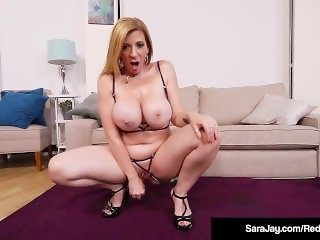 Bubble Butt Milf Sara Jay Oils Up Her Hot Big Tits & Squirts