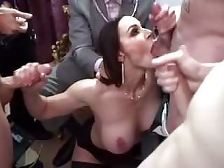 Hot Busty Mom Cuckold Blowbang