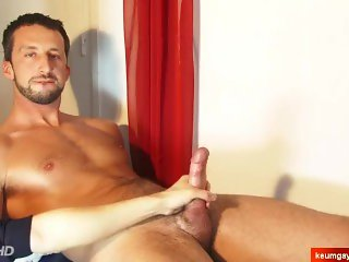 Gino innocent delivery guy gets wanked his huge cock by us !