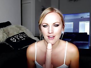 sexy blonde gagging and deepthroating cock