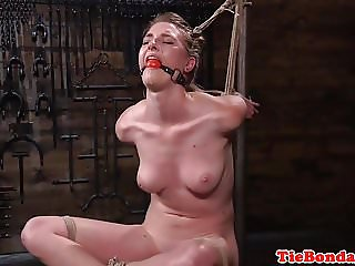 Tied up bondage sub whipped and spanked