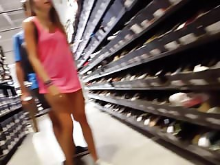 Candid voyeur teen in pink shirt best legs