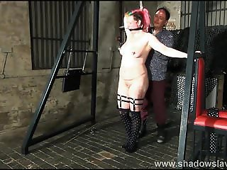 Tit whipping and hard caning of redhead amateur bdsm slave B