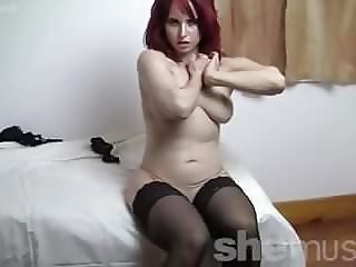Fit Redhead With Big Ass In Stockings, High Heels