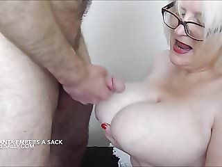 Cock play and cum on tits