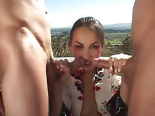Threesome Outdoor with a Gorgeous Geisha. Kt