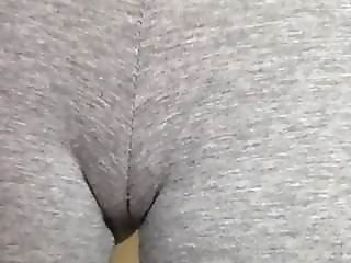 Piss slut wetting her leggings