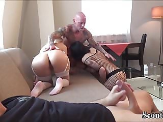 German Cuckold watch GF Fuck with other Couple and Jerk