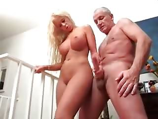 German blonde handjob