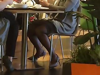 Nice milf in pantyhose in mall