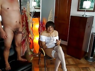lady in white in anal gangbang with her three lovers