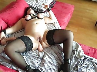 Dildo double penetration and orgasm with tool