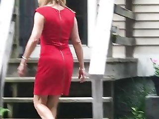 Gilf wife Jan booty in red dress and heels