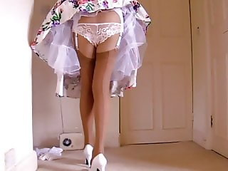 Retro Dress Lace Panties With Tan Stockings