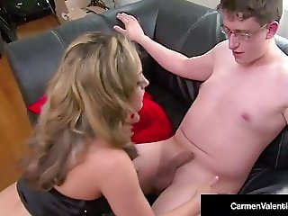 Dirty Blonde Carmen Valentina Rides Nerdy Cock & Gets Facial