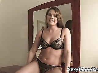 Lingerie babe sucks forbidden cock before sex