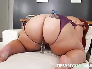 Big Booty PAWG Tiffany Star Rides Huge Glass Dildo