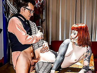 HITZEFREI German tattooed redhead fucked after strip poker