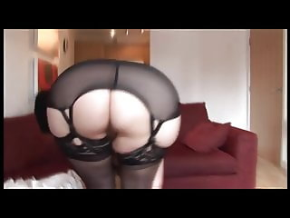 Curvy mature with hairy pussy in open girdle striptease