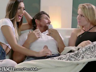 College Teen Girl Fucks Big Dick Step Dad & Her MILF Watches!