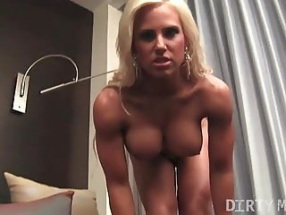 Fitness Muscle Model Blonde Plays With Her Ass and Pussy