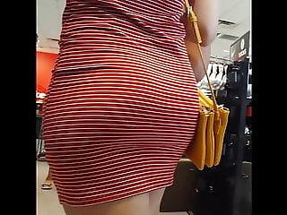 Candid voyeur ebony in tight red dress hot booty ass
