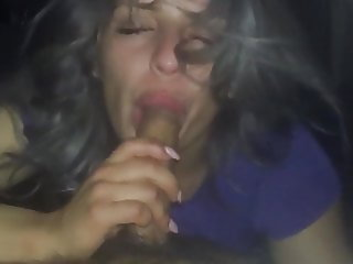 MILF eats all of his cock