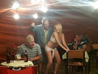 Blonde girl dance for older mens cock