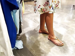 her sexy french pedicured feets sexy white toes