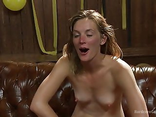 New and shy secretary is welcomed and gangbanged by all men