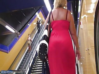 Spanish blonde MILF ass in transparent skirt