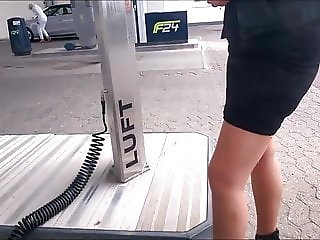 Wife show stocking tops in public