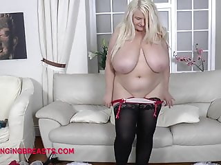 Busty Blonde has her old man jacking