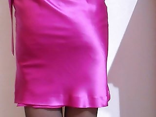 Satin Cocktail Dress With Lace Top Stockings