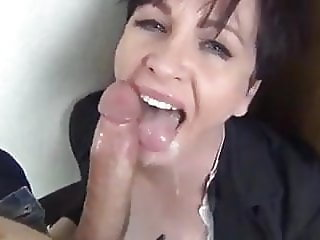 Cumshot facial brunette beautiful big dick