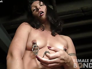 Fit Pornstar Masturbating Dildo And Wearing Nipple Clamps