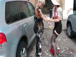 Two horny babes getting all messy part2