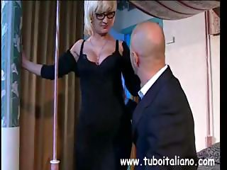Busty blonde Italian babe pole dances and gets pussy licked