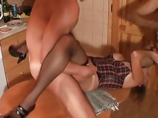 Wife 3 Sum on Kitchen Table Fucked and Throated