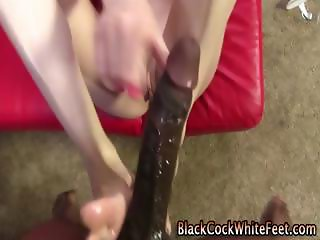 White girl a black cock and a footjob with some motion