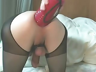 Horny Crossdresser Takes Huge Dildo In The Ass
